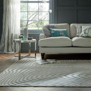 Patna Channel Grey Abstract Rug by Flair Rugs