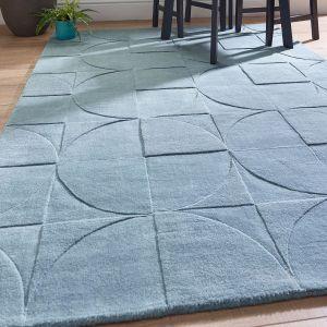 Penny Steel Blue Geometric Wool Rug by Origins