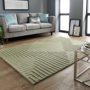 Porto Estela Green Wool Modern Rug by Flair Rugs