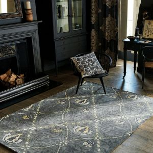 Pure Trellis 029105 Black Ink Hand Tufted Wool Rug by Morris & CO.