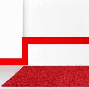 Retro Shaggy Plain Red Rug by Rug Style
