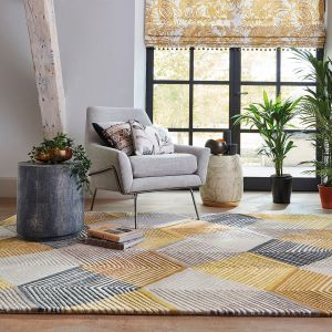 Rhythm 40906 Saffron Handtufted wool Rug by Harlequin