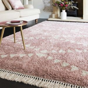 Rocco RC01 Pink Shaggy Rug by Asiatic