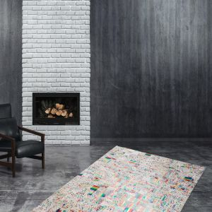 Rocket 310 Ivory/Multi Modern Rug by Kayoom