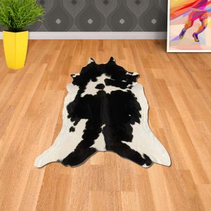 Rodeo Cowhide Black & White Abstract Rug By Asiatic