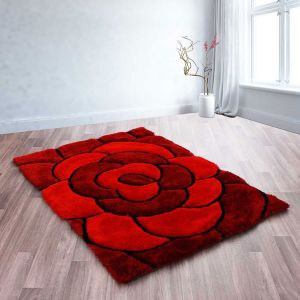 Rose Red 3D Shaggy Rug by Ultimate Rug