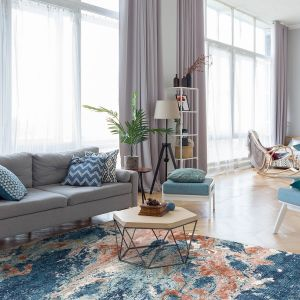 Rossa ROS07 Blue Rust Abstract Rug by Concept Looms