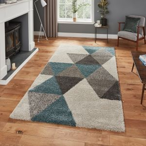 Royal Nomadic 5741 Cream Teal Shaggy Rug by Think Rugs