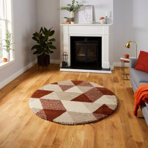 Royal Nomadic 7611 Beige Rust Shaggy  Circle Rug by Think Rugs