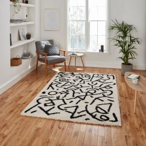Royal Nomadic A637 White Black Rug by Think Rugs