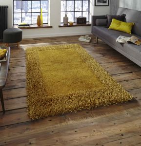 Sable 2 Yellow Shaggy Bordered Rug By Think Rugs