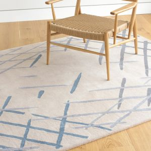 Sand Sketch Ecru Handtufted Wool Rug by Claire Gaudion