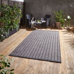Santa Monica A041 Black Outdoor Rug by Think Rugs