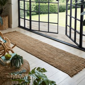Sarita Jute Boucle Natural Plain Runner by Flair Rugs