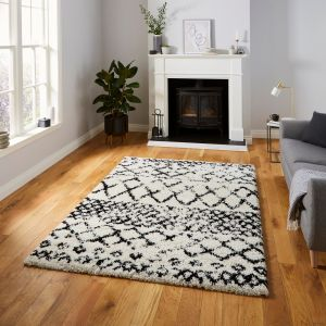 Scandi Berber G272 White Black Shaggy Rug by Think Rugs