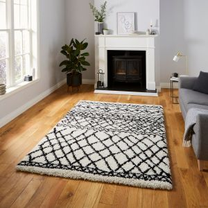 Scandi Berber G274 White Black Shaggy Rug by Think Rugs