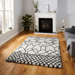Scandi Berber G276 White Black Shaggy Rug by Think Rugs