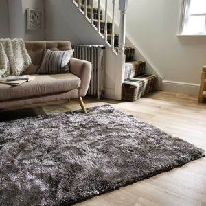 Serenity Silver Shaggy Rug by Flair Rugs