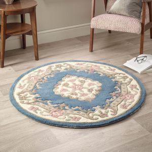 Shensi Blue Traditional Circle Rug by Rug Guru