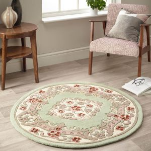 Shensi Green Traditional Circle Rug by Rug Guru