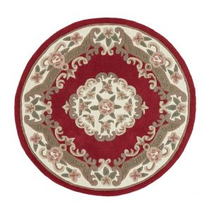 Shensi Wine Traditional Circle Rug by Rug Guru