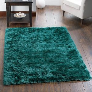 Shimmer Teal Polyester Shaggy Rug by Origins