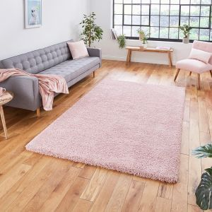 Sierra 9000 Pink Plain Shaggy Rug by Think Rugs