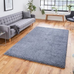 Sierra 9000 Slate Grey Plain Shaggy Rug by Think Rugs