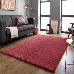 Sleek Brick Red Plain Shaggy Rug by Flair Rugs