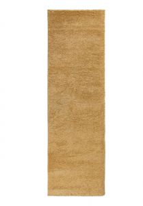 Sleek Golden Ochre Plain Shaggy Runner by Flair Rugs
