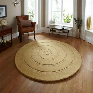 Spiral Gold Wool Rug By Think Rugs
