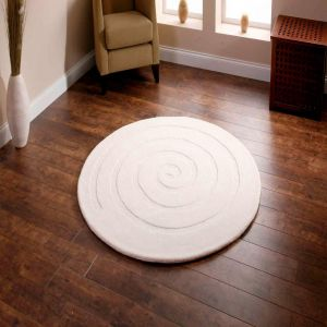 Spiral Ivory Wool Rug By Think Rugs
