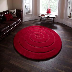 Spiral Red Wool Rug By Think Rugs