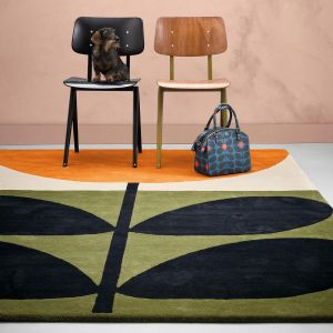 Stem Black 059803 Wool Rug by Orla Kiely