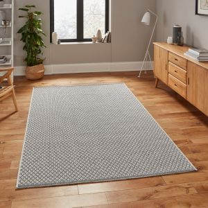 Stitch 9683 Ivory Black Rug by Think Rugs