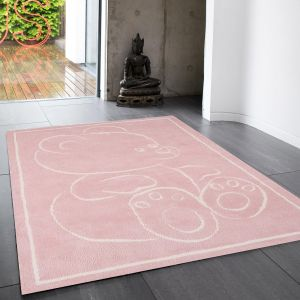 Teddy Bear Pink Rect Rug By Asiatic