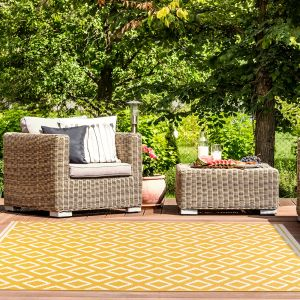 Terrace Diamond Gold Outdoor Rug by Ultimate Rug