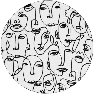 Tiago 46316/AF100 White Pictorial Circle Rug by Mastercraft