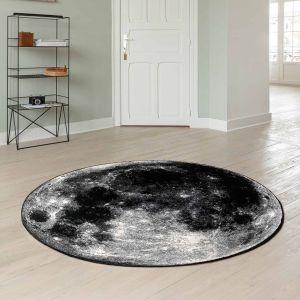 Tiago 46324/AF900 Black Abstract Circle Rug by Mastercraft