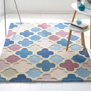 Trellis Pink Blue Wool Rug by Origins