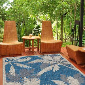 Tropical Palms Blue Rug by Floorita