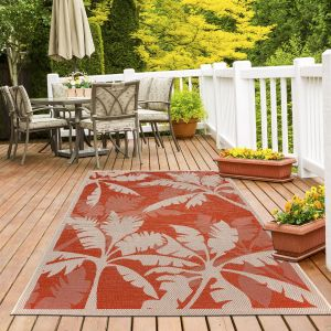 Tropical Palms Orange Rug by Floorita