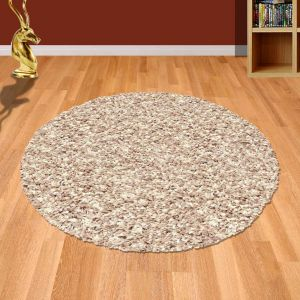 Twilight 039 0001 2868 Beige White Shaggy Circle Rug by Mastercraft