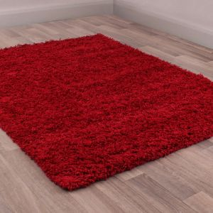 Indulgence Red Plain Shaggy Rug By Ultimate Rug