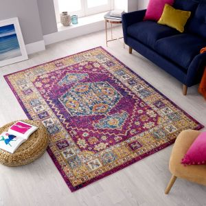 Urban Traditional Pink Multi Rug by Flair Rugs
