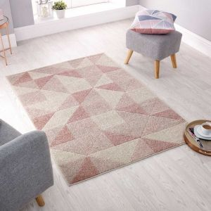 Urban Triangle Blush Pink Rug by Flair Rugs