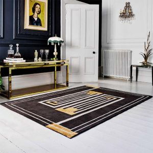 V&A Moderne Brown/Ochre Wool Rug by Flair Rugs