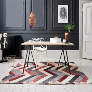 V&A Salon Red/Grey Luxmi Wool Rug by Flair Rugs
