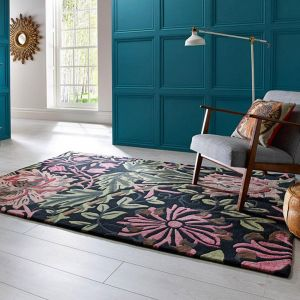 V&A Honeysuckle Black/Multi Wool Rug by Flair Rugs