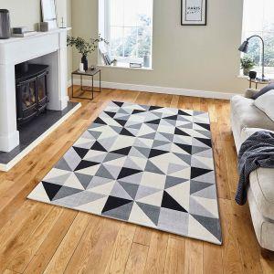 Vancouver 18214 Grey Black Geometric Rug by Think Rugs